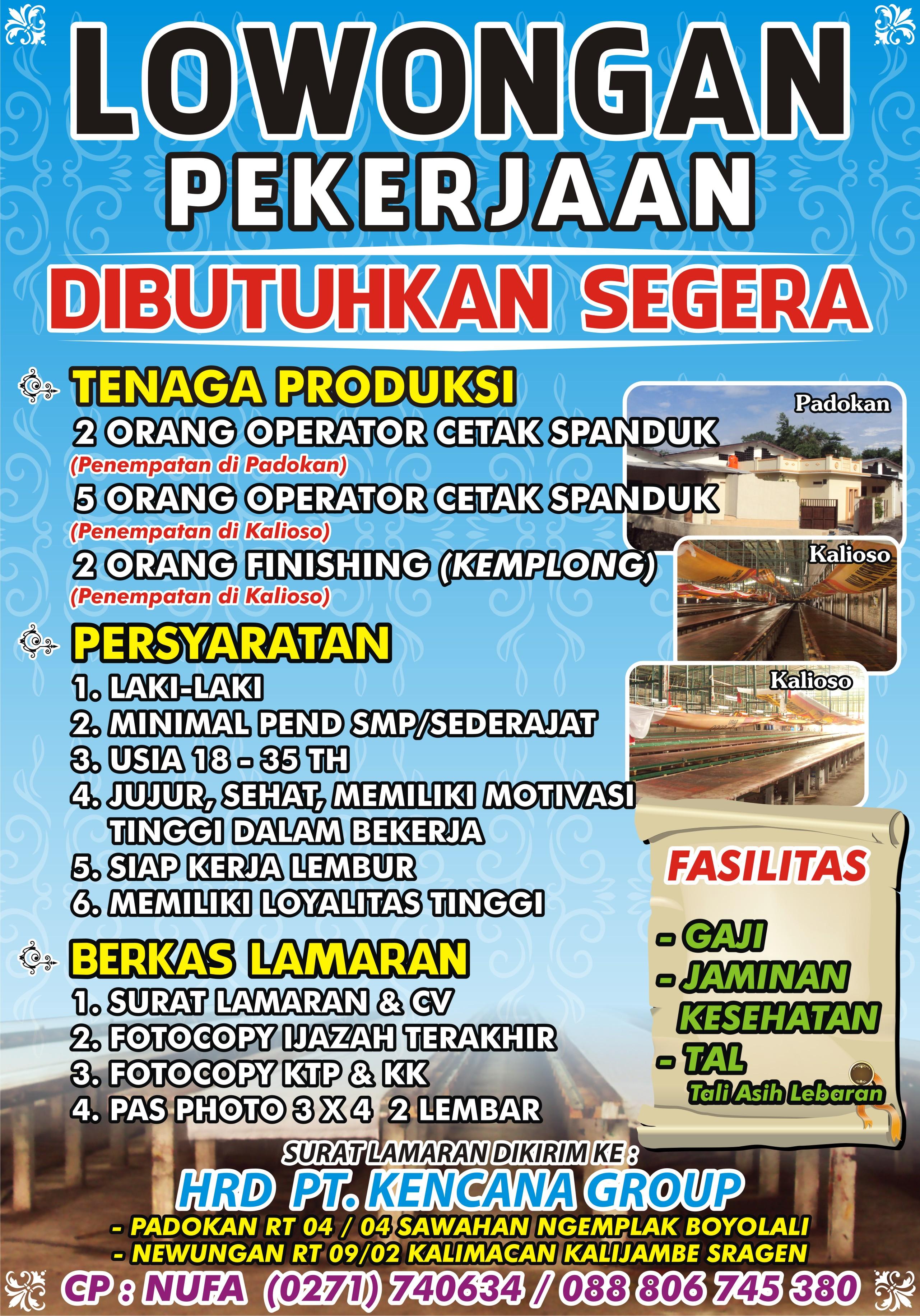 Loker Operator Cetak & Kemplong